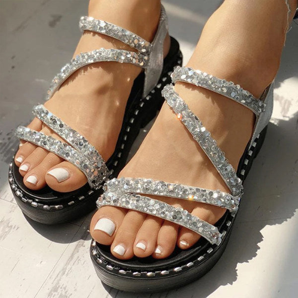 Remishoes Sequined Muffin Thick Sole Open Toe Roman Sandals