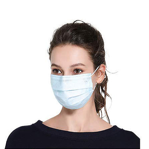 Disposable Face Masks with Elastic Ear Loop 3 Ply Breathable and Comfortable for Air Pollution (Blue)( Not participating in discounts )
