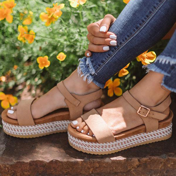 Remishoes Comfortable Fit Espadrille Platform Sandals