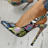 Remishoes Snakeskin Print Pointed Toe Thin Heeled Sandals Heels