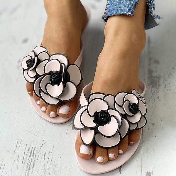 Remishoes Toe Post Flower Design Flat Slippers