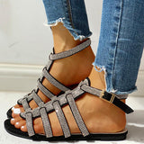 Remishoes Studded Multi-Strap Ankle-buckled Flat Sandals