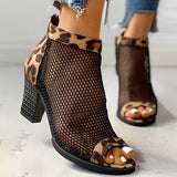 Remishoes Leopard Mesh Patchwork Peep Toe Sandals
