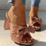 Remishoes Peep Toe Bowknot Design Chunky Heeled Sandals(Ship in 24 hours)
