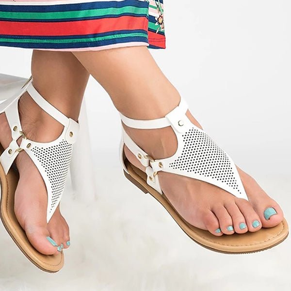 Remishoes Toe Post Hollow Out Flat Sandals