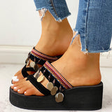 Remishoes Ethnic Multi Strap Wedge Heel Slipper