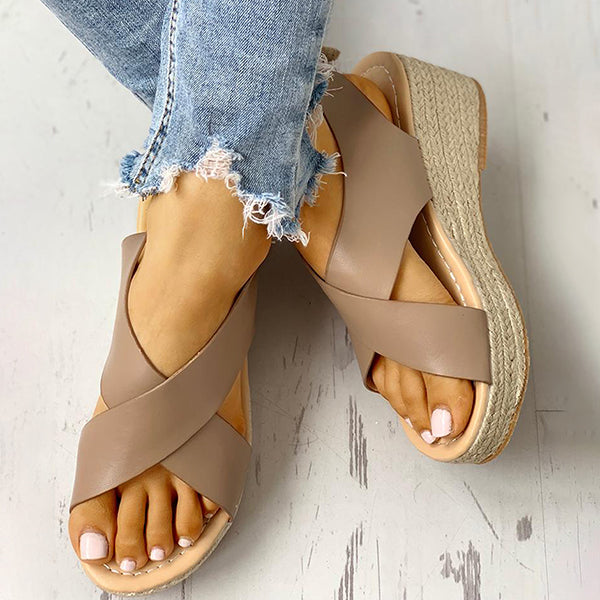 Remishoes Crisscross Design Espadrille Wedge Sandals
