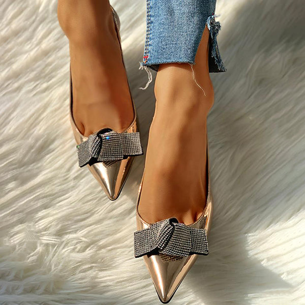 Remishoes Pointed Toe Studded Bowknot Slingback Thin Heels