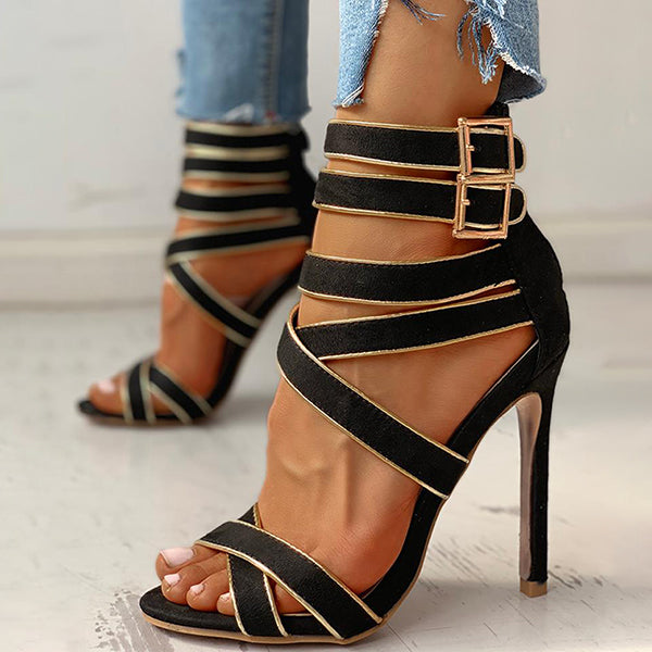 Remishoes Contrast Binding Bandage Thin Heeled Sandals Heels