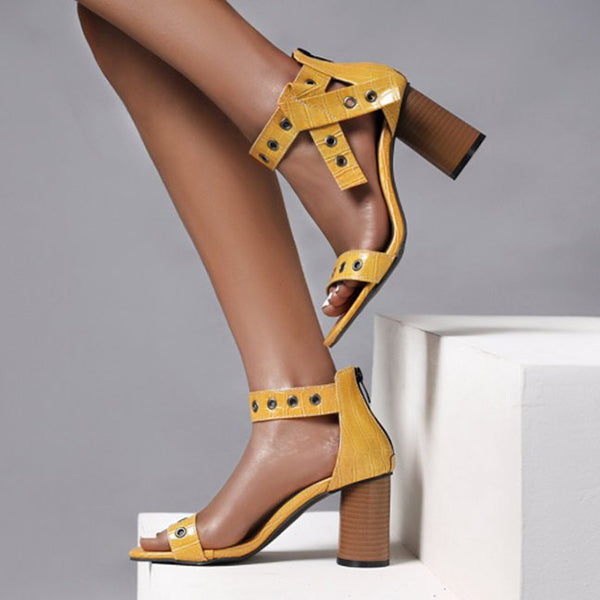 Remishoes Clue Leather Chunky Heel Sandals