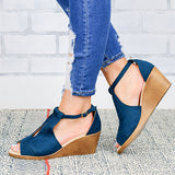 Remishoes Comfort Sole Center Cut Wedges Sandals