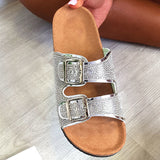 Remishoes Diamante Embellished Buckle Sliders Slippers