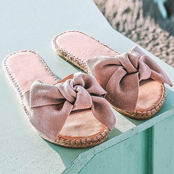 Remishoes Bowknot Design Straw Slippers