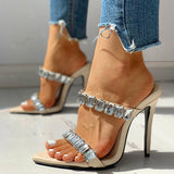 Remishoes Diamante Trim Open Toe Thin Heeled Sandals