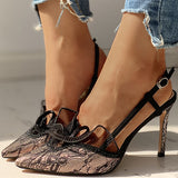 Remishoes Pointed Toe Lace Insert Ankle Buckled Thin Heeled Sandals