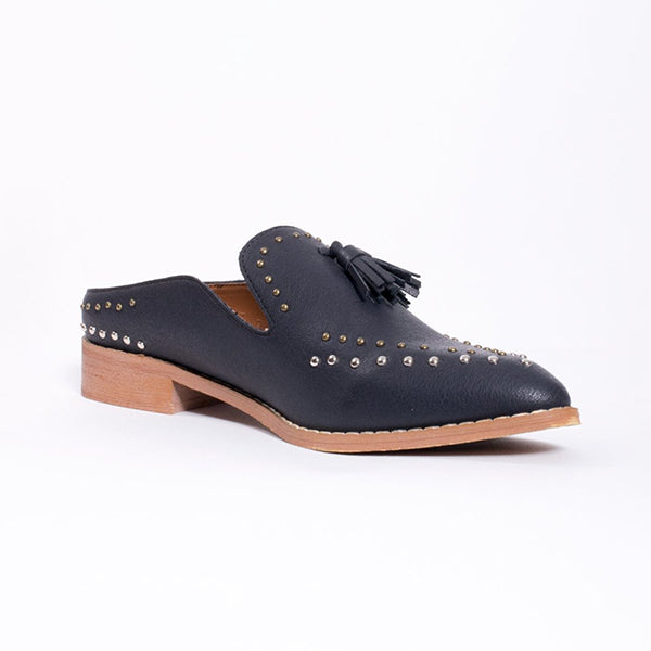 Remishoes Studded Tassel Loafer Mule