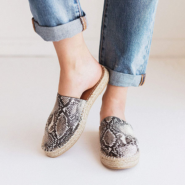 Remishoes Slip-on Espadrille Flats Snake Slippers