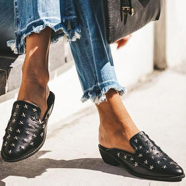 Remishoes Star Rivets Flat Mules Slippers
