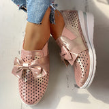 Remishoes Glitter Hollow Out Bowknot Sneakers