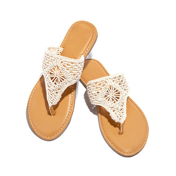 Remishoes Woven Detailing Thong Strap Padded Insole Slippers