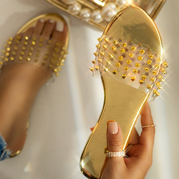 Remishoes Studded Clear Strap Padded Insole Slippers