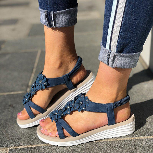 Remishoes Women Casual Summer Flower Wedge Sandals