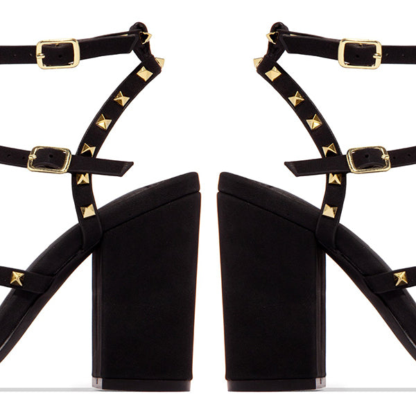 Remishoes Gold-Tone Studded Straps Chunky Heel Sandals