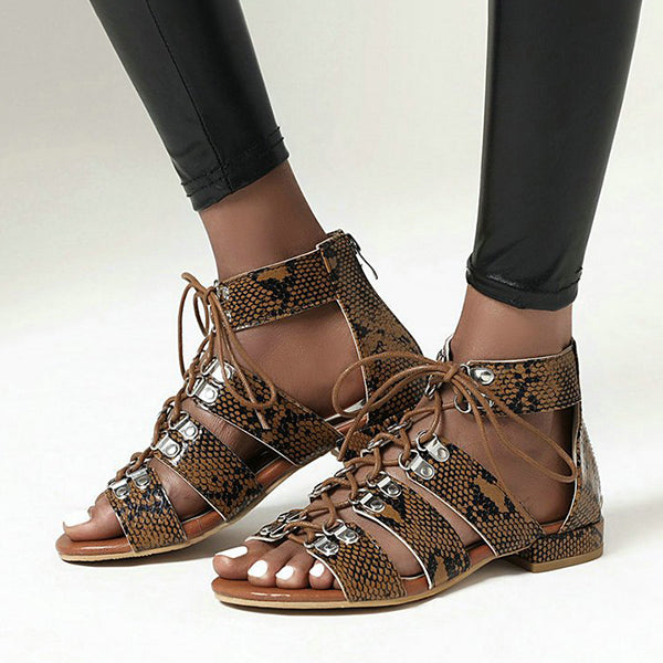 Remishoes Women Summer Lace-Up Gladiator Sandals