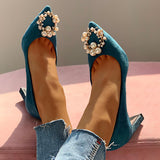 Remishoes Suede Beaded Detail Chunky Heels