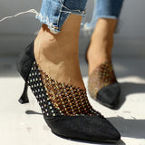 Remishoes Pointed Toe Hot Stamping Hollow Out Thin Heels