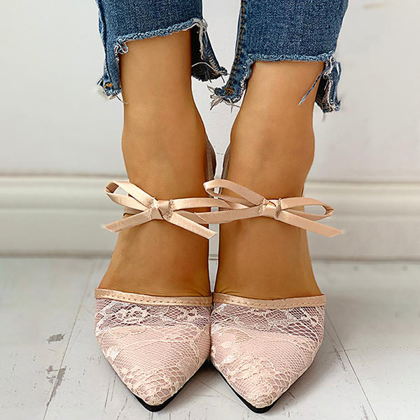 Remishoes Pointed Toe Lace Bowknot Ankle Buckled Heeled Sandals