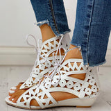 Remishoes Hollow Out Lace-up PU Wedge Sandals