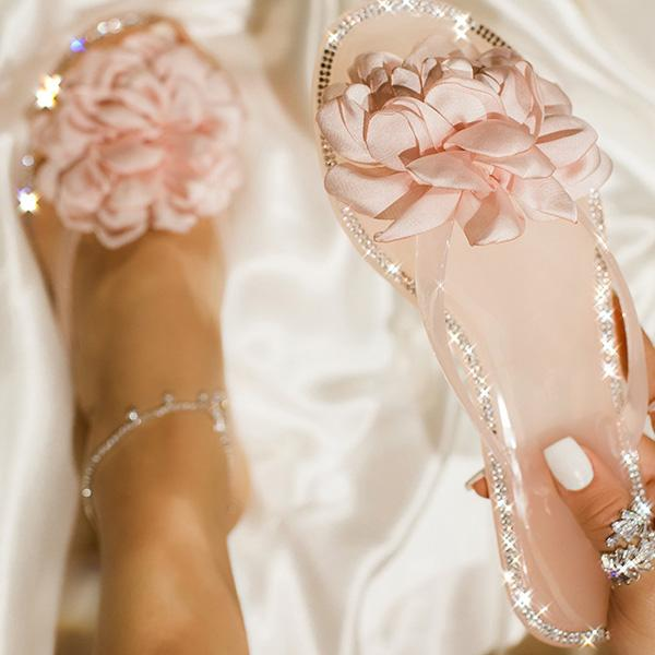Remishoes Blossom Clear Thong Strap Embellished Outter Sole Slippers