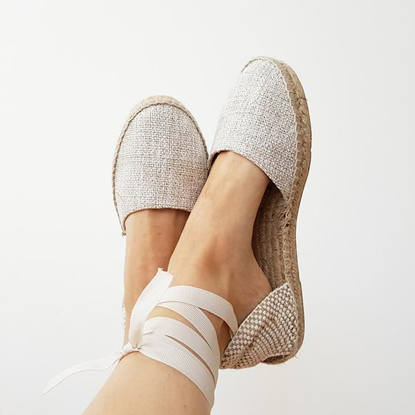 Remishoes Organic Espadrilles Ubber Grip Soles Lace-up Flats