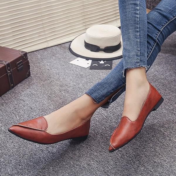 Remishoes Pointed Toe Slip-On Flat Heel Loafers