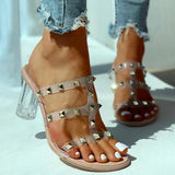 Remishoes Transparent Strap Rivet Heeled Sandals