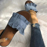 Remishoes Casual Ruffles Hem Slide Outdoor Flat Slippers