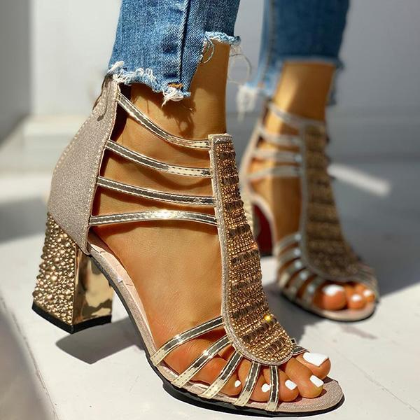 Remishoes Studded Multi-Strap Chunky Sandals