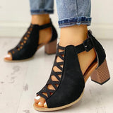 Remishoes Lace-Up Hollow Out Peep Toe Ankle Sandals