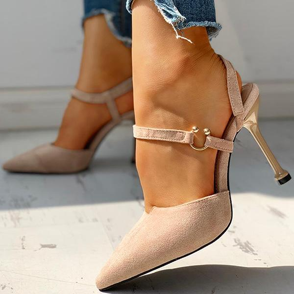 Remishoes Pointed Toe Suede Ankle Buckled Thin Heeled Sandals