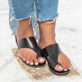 Remishoes Flat PU No-buckle-strap Women Sandals