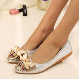Remishoes Rhinestone Pointed Toe Elegant Flats Sandals