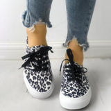 Remishoes Fashion Leopard Lace-Up Casual Sneakers
