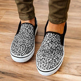 Remishoes All Season Leopard Canvas Elastic Band Slip-On Sneakers