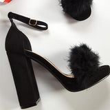 Remishoes Fluffy High Heels Buckle Straps Sandals
