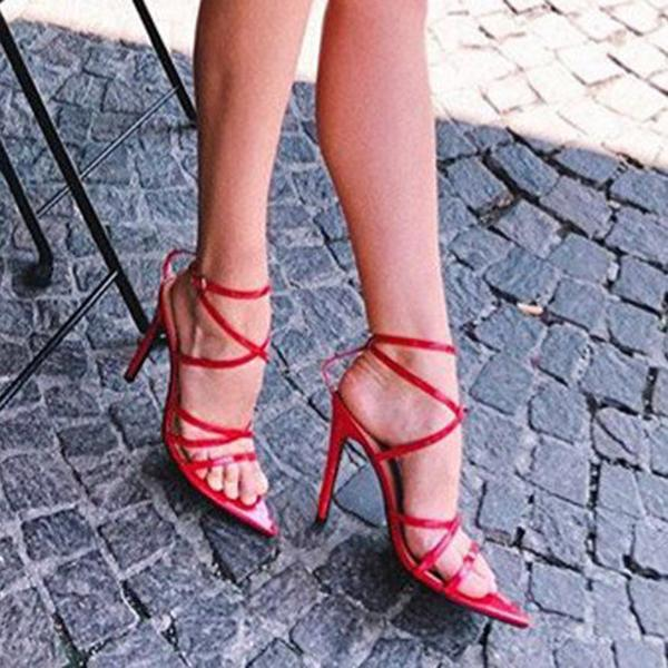 Remishoes Strappy Patent Pointed High Heels Sandals