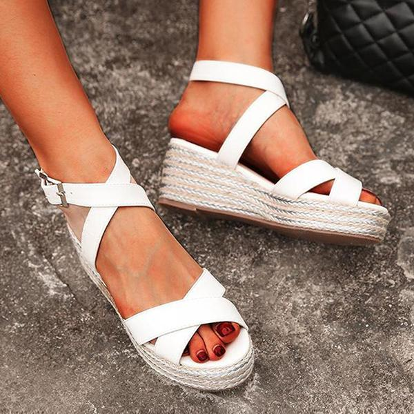 Remishoes Crisscross Strap Wedge Heel Sandals