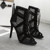 Remishoes Net Hollow Lace Up High Heels Sandals