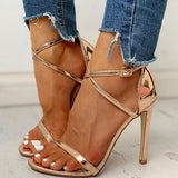 Remishoes Glitter Multi-strap Ankle Buckled Thin Heeled Sandals