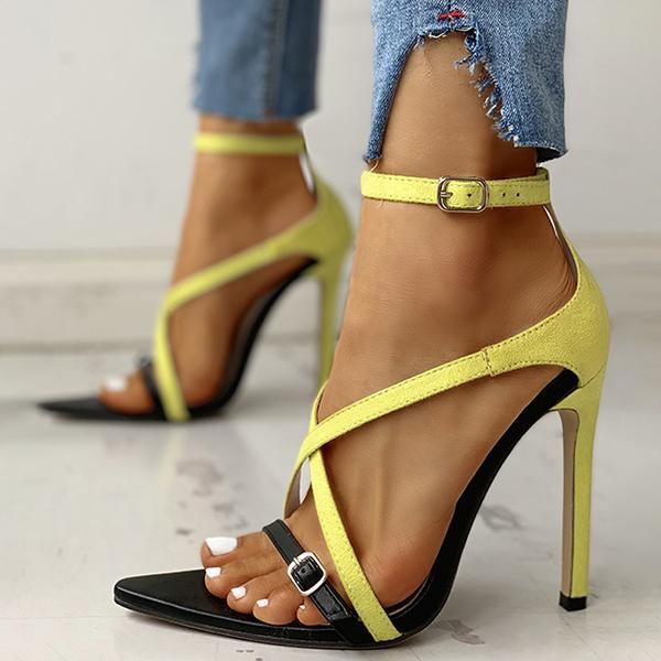 Remishoes Crisscross Strap Thin Heeled Sandals